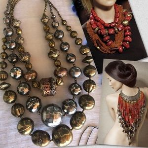 Vintage Navajo Pearls Mixed Metal necklaces